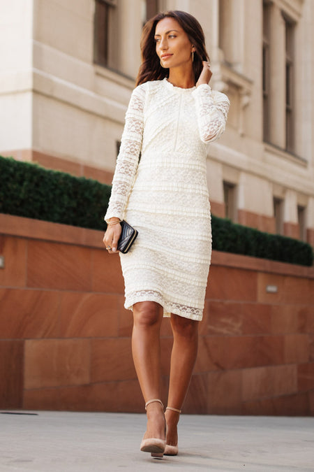 Carmen Lace Dress in Ivory