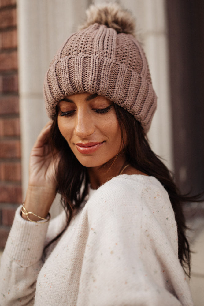 C.C. Pom Beanie in Taupe