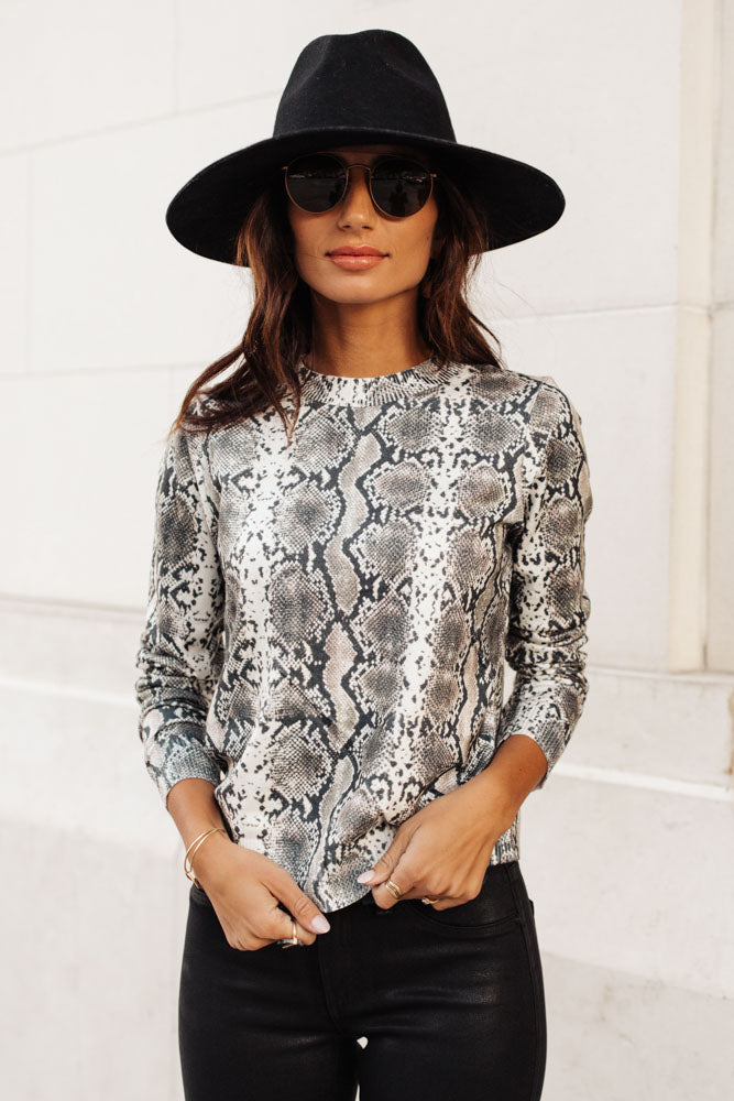 Morgan Snake Print Sweater
