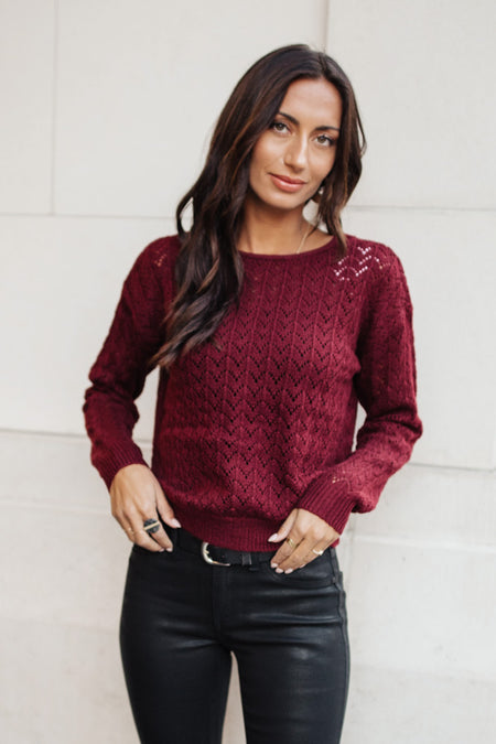 Serena Knit Sweater in Burgundy - FINAL SALE