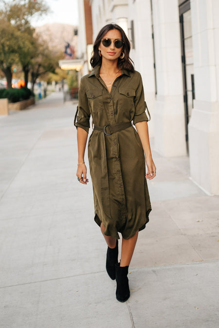 Piper Button Down Dress in Olive