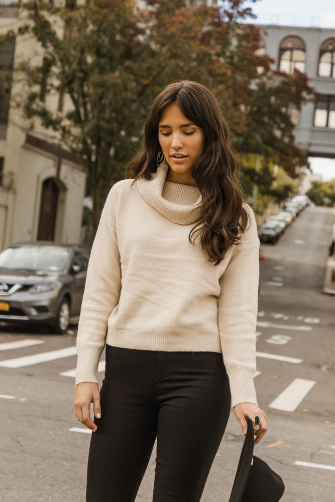 Rubie Turtleneck Sweater in Ivory - FINAL SALE