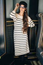 Wrong or Stripe Button Dress in Cream-FINAL SALE
