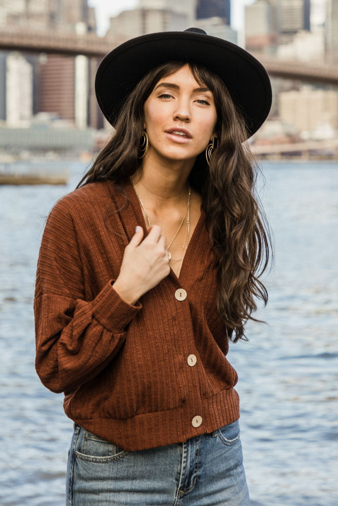 Maggie Button Front Cardigan in Brown