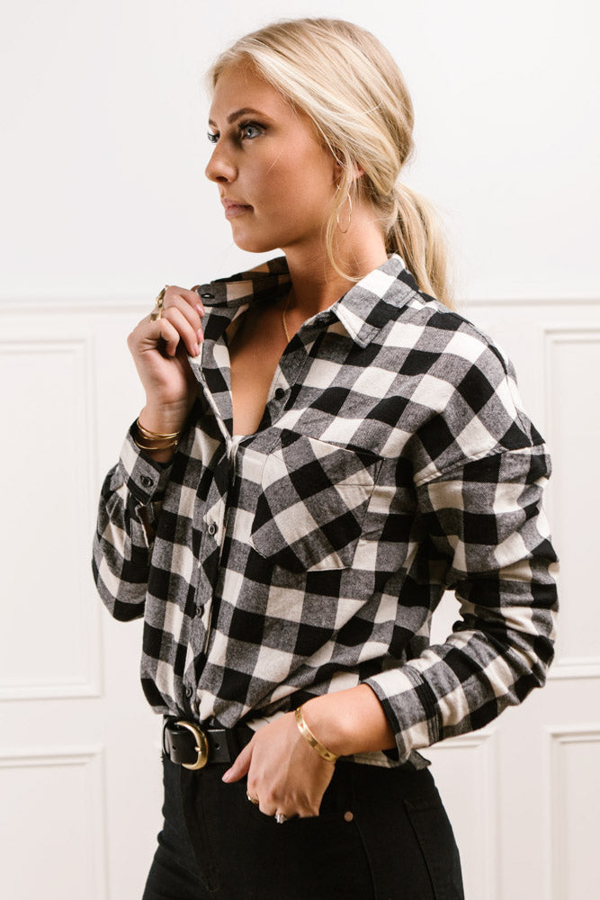 Oaklyn Plaid Button Down in Black