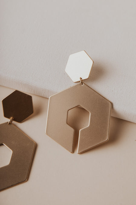 Hexagons Oversized Earrings