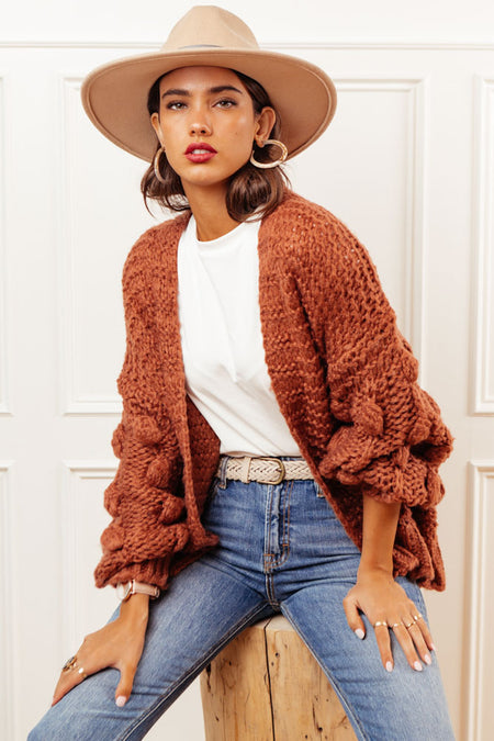 Lesley Knit Cardigan in Rust