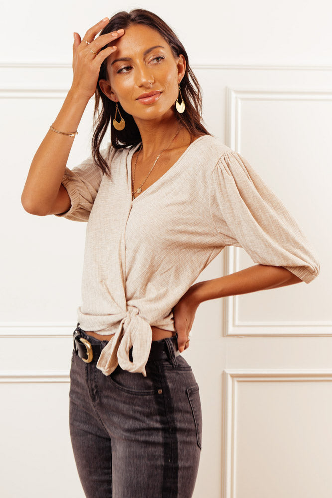 Shantay Faux Wrap Top in Taupe