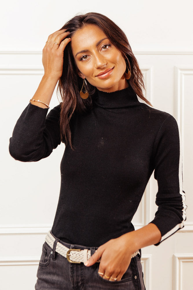 Julian Mock Neck Sweater in Black
