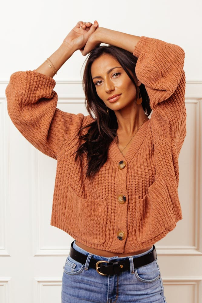 Celeste Button Front Cardigan in Rust