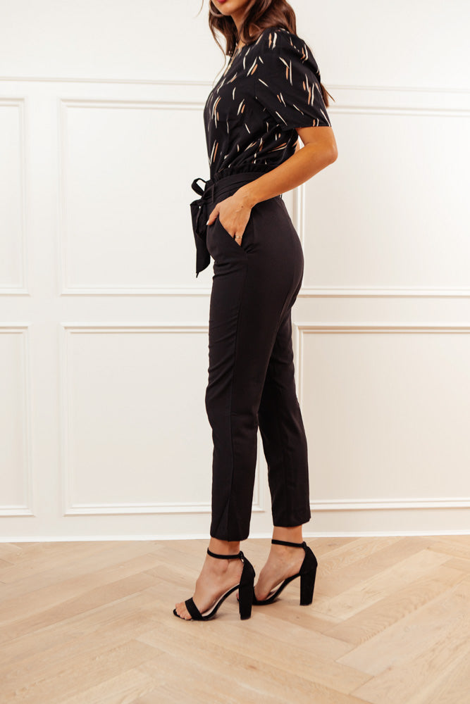 Adriana Paperbag Pants in Black
