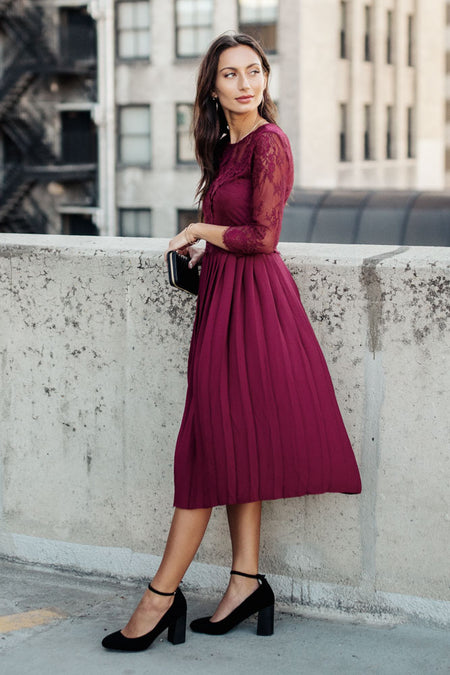 Heidi Lace Dress in Burgundy - FINAL SALE