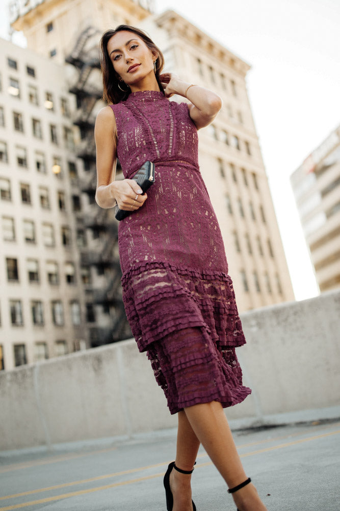 Eva Sleeveless Dress in Burgundy - FINAL SALE