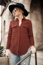 Bray Button Down Top in Brown - FINAL SALE