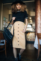 Pencil Me In Button Down Skirt in Mustard-FINAL SALE