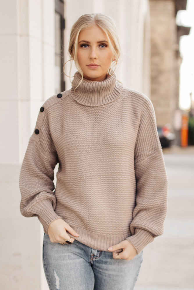Aurora Button Sweater in Taupe - FINAL SALE