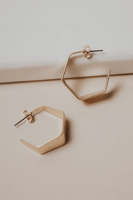 Gold Hex Earrings