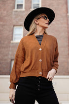 Maggie Button Front Cardigan in Rust - FINAL SALE
