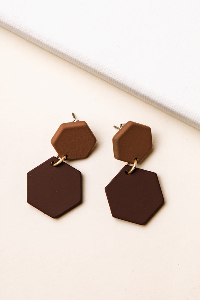 Octagon Clay Earrings in Burgundy