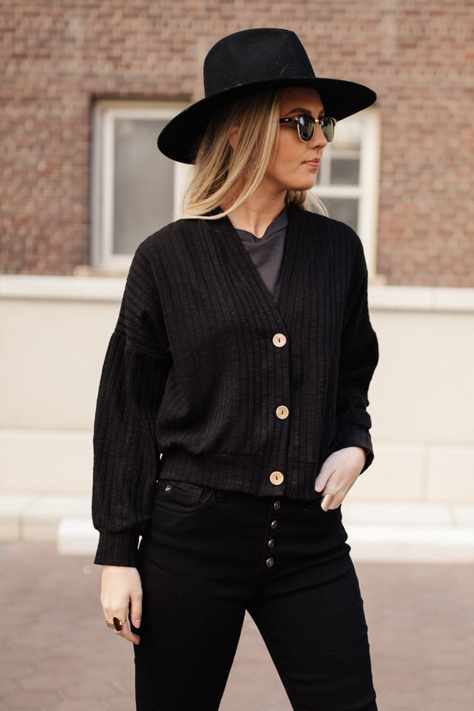 Maggie Button Front Cardigan in Black - FINAL SALE