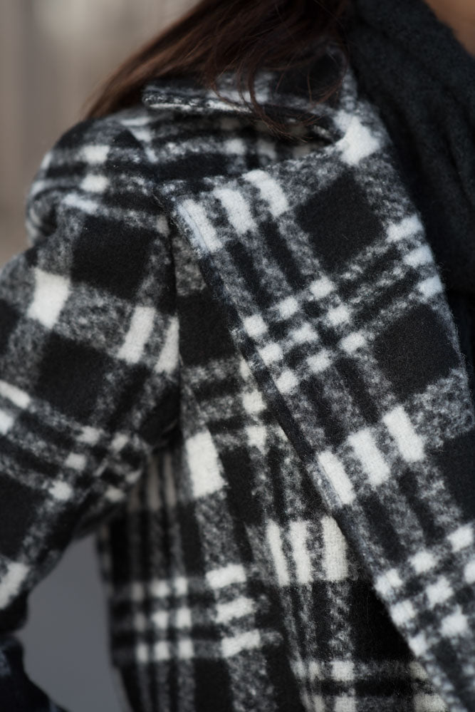 London Plaid Coat in Black - FINAL SALE