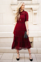 Maria Dot Dress in Wine