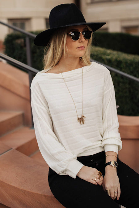 Reese Long Sleeve Top in Ivory