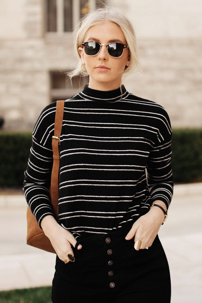 Quinn Stripe Top in Black