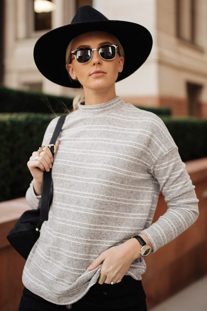 Quinn Stripe Top in Grey