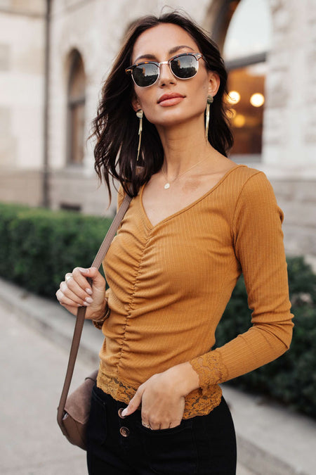 Valentina Ruched Top in Camel