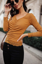 Valentina Ruched Top in Camel-FINAL SALE