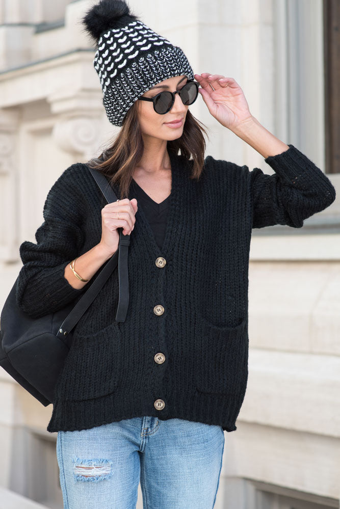 Amber Button Front Cardigan in Black - FINAL SALE