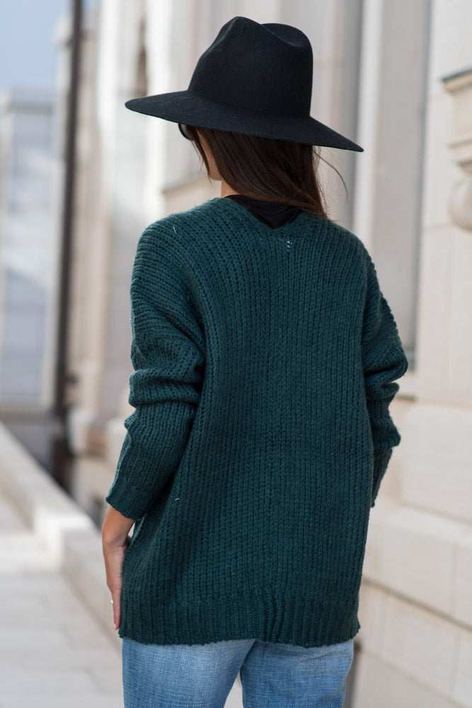 Amber Button Front Cardigan in Teal - FINAL SALE
