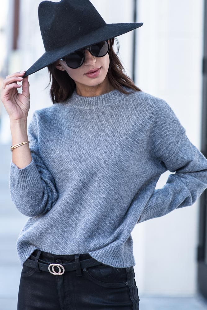 Emilia Crew Neck Sweater in Grey