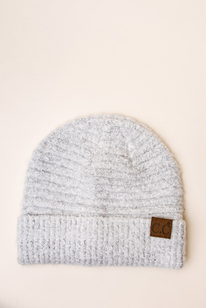 C.C. Ribbed Beanie in White