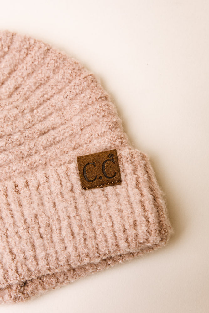 C.C. Ribbed Beanie in Pink