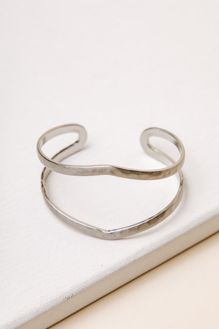 Celise Hammered Cuff in Silver