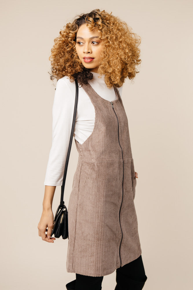 Alice Corduroy Jumper Dress in Taupe