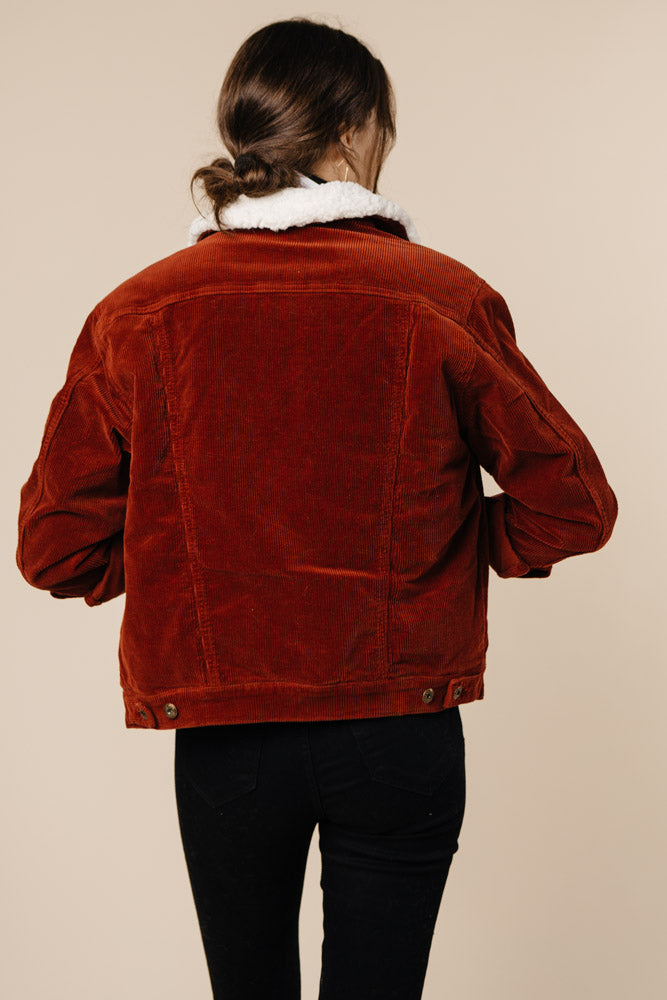 Ex-Boyfriend Corduroy Jacket in Brick - Bohme
