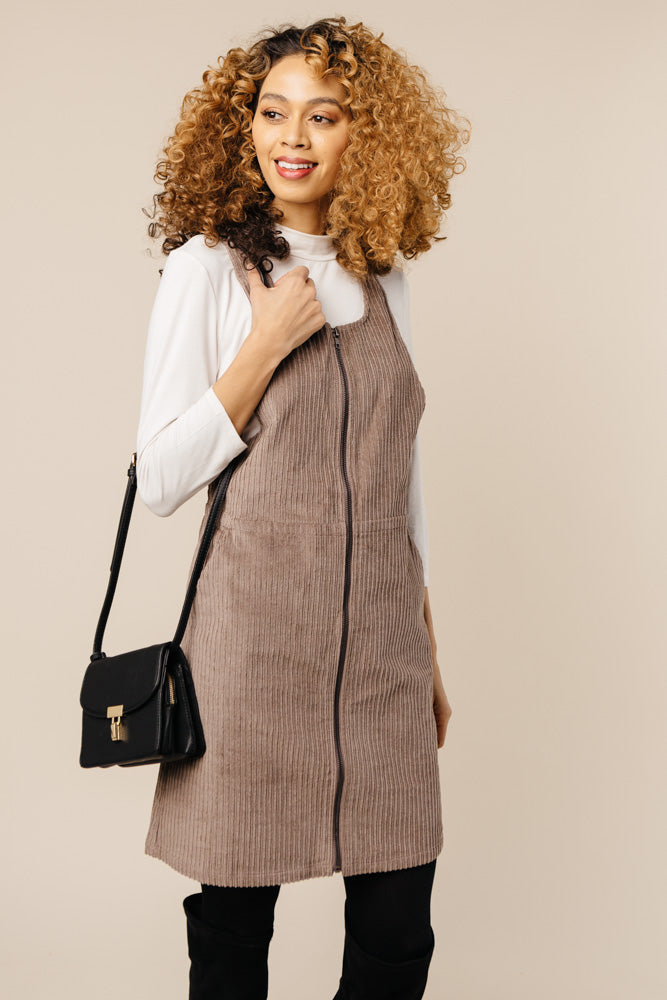 Alice Corduroy Jumper Dress in Taupe - Bohme