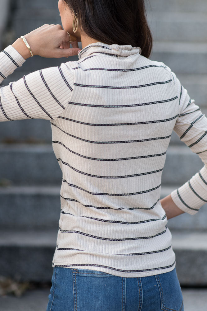 Clover Striped Turtle Neck Top in Taupe