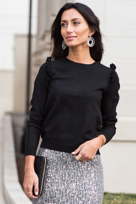 Arianna Ruffle Shoulder Sweater in Black