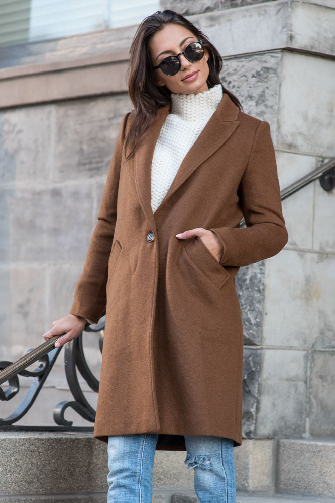 London Wool Coat in Brown