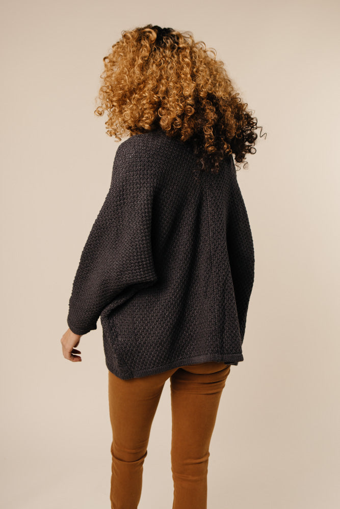 Happy Together Slouchy Boyfriend Cardigan in Charcoal
