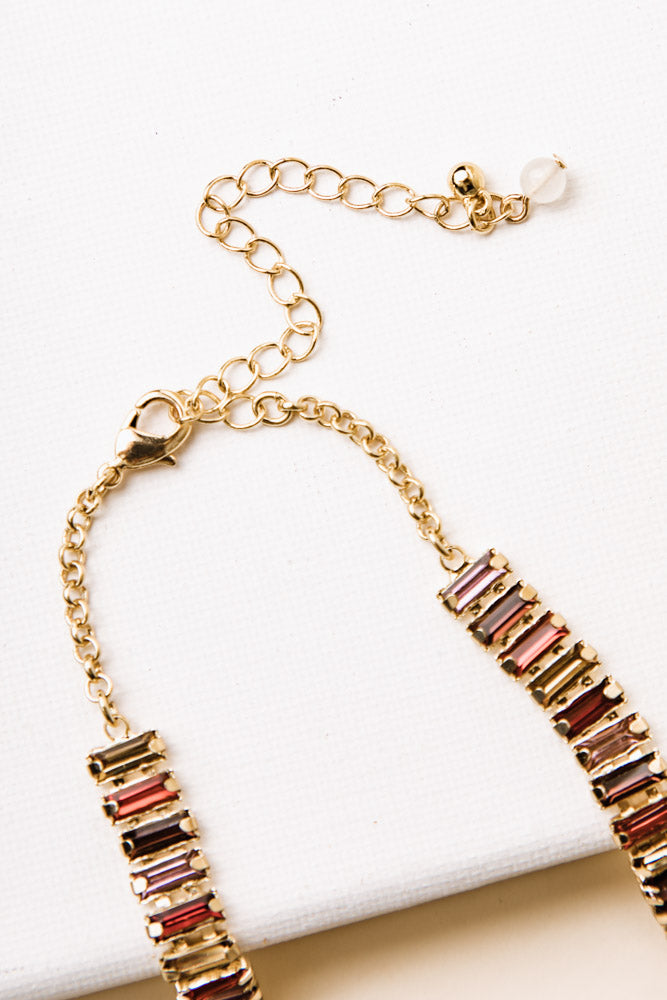 Rees Jewel Necklace in Red