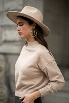 Sonia Mock Neck Sweater in Tan