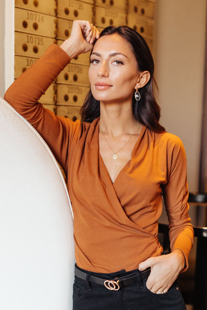 Marie Wrap Top in Spice
