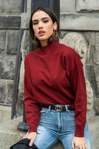 Sonia Mock Neck Sweater in Wine - FINAL SALE