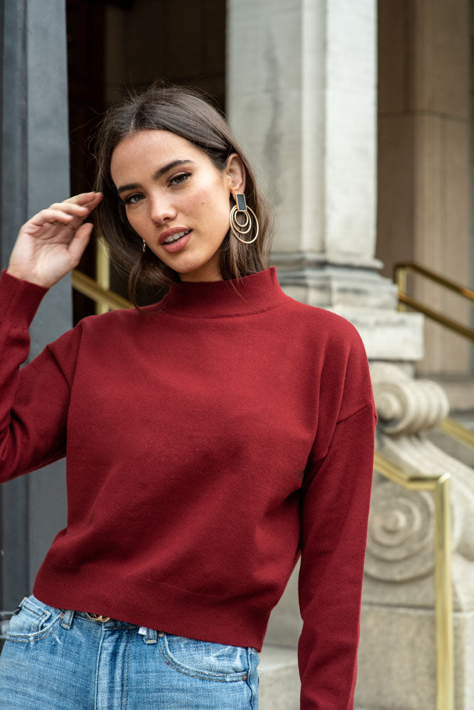 Sonia Mock Neck Sweater in Wine