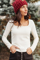 Clement Square Neck Top in Ivory
